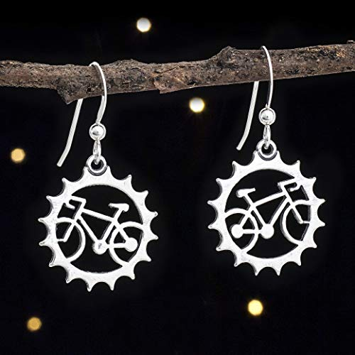 Sterling Silver Bicycle Earrings - Cyclist, Bike Lover Gift - Handmade, Solid .925