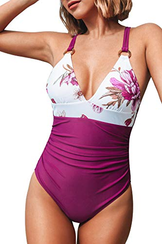 CUPSHE Women's One Piece Swimsuit Floral Print Tummy Control V Neck Bathing Suit, X-Large Magenta