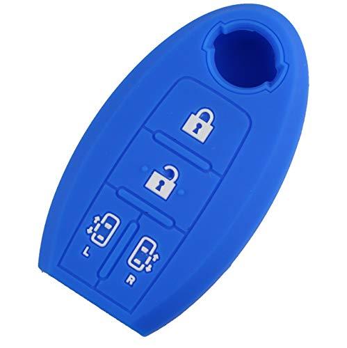 【カラー選択可】日産セレナ キーケース スマートキーカバー シリコン製 新型セレナC27 セレナC26 セレナC25/エルグランドE52 エルグランドE51 両側電動スライドドア対応 4ボタンキーケース 専用設計 ブルー 白ボタン