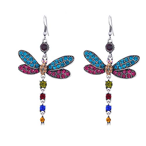 Joyería de las mujeres elegantes de la libélula pendientes pendientes de las mujeres de la borla de insectos pendientes Rhinestone colorido gancho pendientes del verano Accesorios 1Pair coloridas