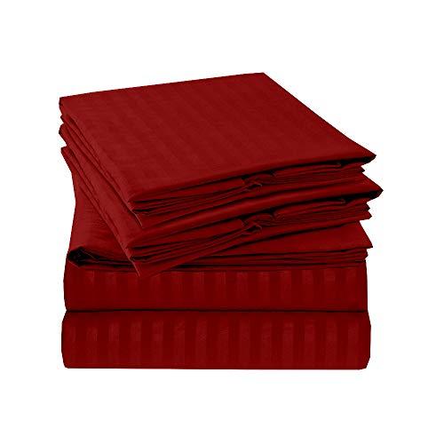 Great Quality 100/% Cotton Super Soft Burgundy 4 Piece Jersey Sheet Set ALL SIZES