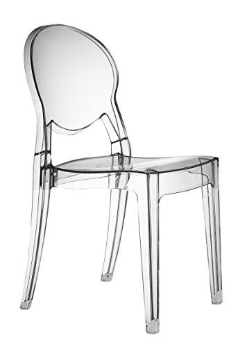 2x Sillas de comedor transparentes diseño italiano deluxe Igloo para cocinas y restaurantes (Pack de 2 uds)