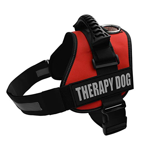 Albcorp Reflective Therapy Dog Vest Harness, Woven Polyester & Nylon, Adjustable Service Animal Jacket, with 2 Hook and Loop Therapy Dog Removable Patches, Extra Large, Red