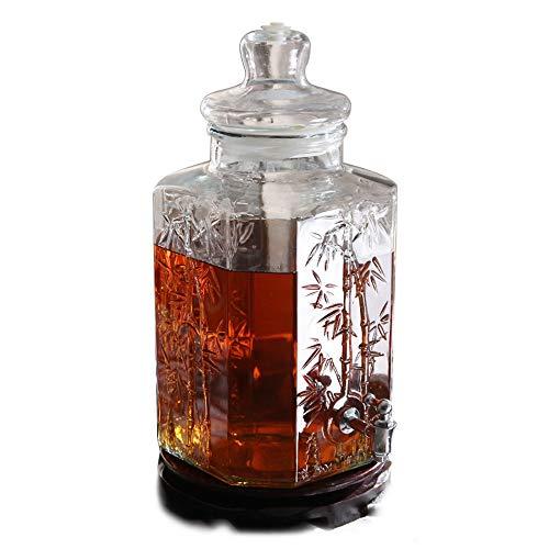 Drankdispenser 5 l met waterkraan zonder uitloop, stabiele houder, glazen deksel, koud water, Sangria, limonade, koude koffie 5l-copper Spigot-wood Base