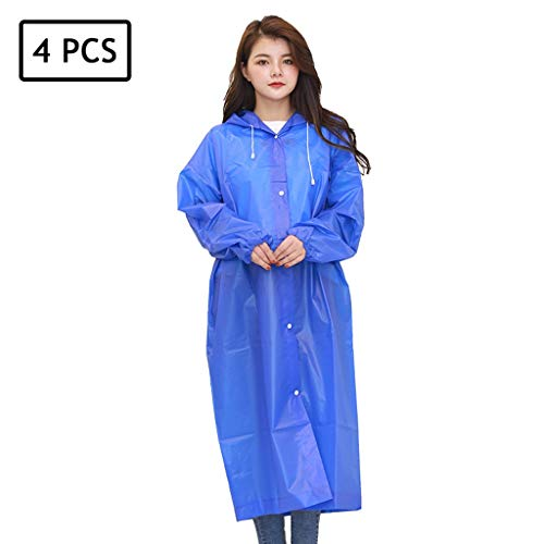Buy Discount Lgan 4PCS Disposable Rain Ponchos, Clear Adults Emergency Waterproof Raincoat with Hood...