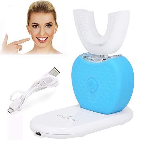 Vollautomatik Variabel Frequenz 360° Ultraschall Elektrische Zahnbürste, Kaltlicht Whitening Zahnbürste mit variabler Frequenz Vollautomatische Zahnbürste U Zahnbürste Set, IPX7 Wasserdicht