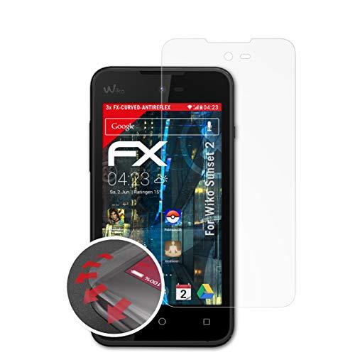 atFolix Schutzfolie kompatibel mit Wiko Sunset 2 Folie, entspiegelnde & Flexible FX Bildschirmschutzfolie (3X)