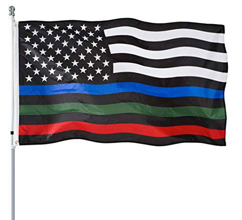 Thin Blue Green and Red Line American Flag 3x5- Heavy Duty Polyester American Blue Red Green Stripe All Lives Matter Police Firefighter Military Flags Banner Law Enforcement Police Fireman Army Flag