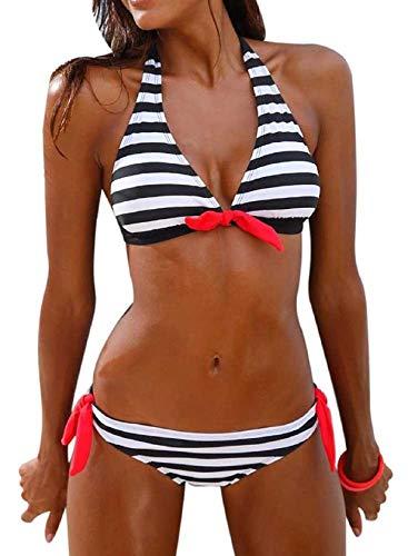 Tuopuda Costume da Bagno Donna Push Up Imbottito Righe Collo Appeso Coordinati da Bikini Costumi da Mare Due Pezzi Sexy Spiaggia Brasiliana Bikini Set Estivi Lady Beachwear