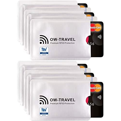 Bloqueo RFID - ANTI FRAUDE - Protectores para Tarjetas de Crédito Débito Sanitaria Identificaciones - Protector Pasaporte - Protección 100% de RFID & NFC (Fundas para Tarjeta de Crédito 10)