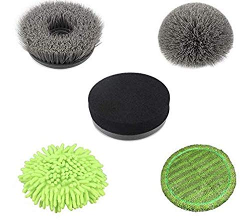 5pcs Spin Scrubber Replacement Brush Heads Kit | Flat Brush | Round Brush | Sponge Brush | Chenille Brush | Coral Mop