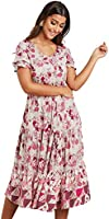 Floral Printed V Neck A-Line Midi Women's Dress with Drawstring Waist