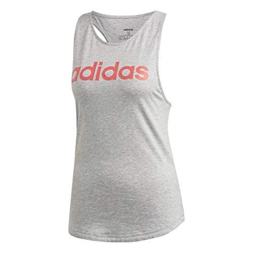 adidas Essentials Linear - Camiseta de Tirantes para Mujer, Mujer, Camisa, FRU55, Gris Jaspeado/Rosa, Extra-Small