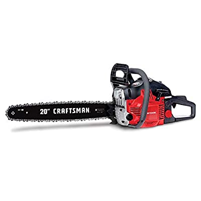 Craftsman CMXGSAMY426S 46cc 2-Cycle Full Crank 20-Inch Gas Powered Chainsaw with Carrying Case, 16-in, Liberty Red