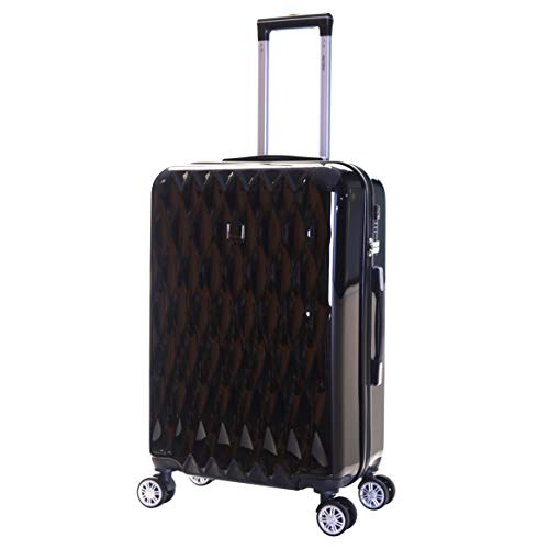 Karabar Hard Shell Medium Large Suitcase Luggage Bag 66 cm 3.4 kg 65 litres Polycarbonate PC with 4 Spinner Wheels and Integrated TSA Number Lock, Diamond Black