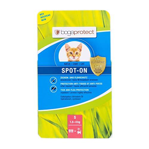 bogaprotect Spot-ON für Katzen - Zeckenmittel - Flohschutz - Zeckenschutz - bis zu 12 Wochen vorbeugender Schutz gegen Zecken & Flöhe - Wirkstoff auf pflanzlicher Basis