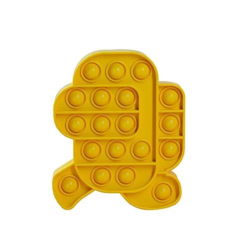 ZHBB Antiestrés Juguetes Burbuja Popping Juego Empuje Sensorial Juguete Divertido Adulto Niños Aliviar Estrés Juguetes Silicona Autismo Amarillo