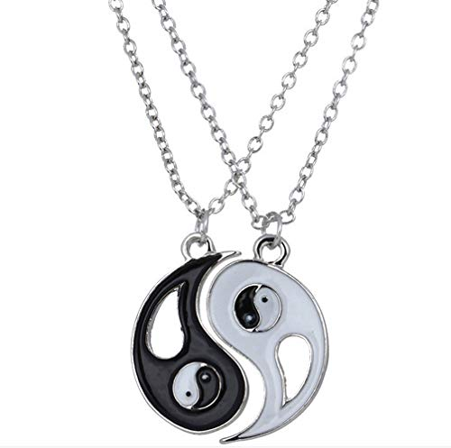 2Pieces Yin Yang Chain Puzzle Matching Pendant Couple Necklace Valentine Gift for Boys, Girls, Best Friends, Lovers and Couples