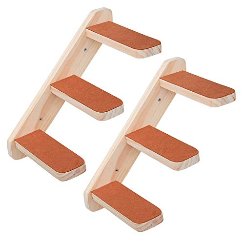 Purife Set of 2 Wood Cat Wall Ladder Wall Steps - Handcrafted Cat Wall Climber Climbing Staircase Stairway, Wall Mount Cat Perch Cat Wall Shelf Cat Hammock, Indoor Cat Wall Furniture