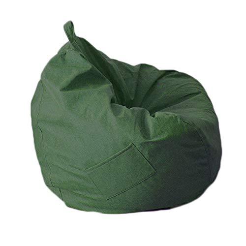 LDIW Sitzsack Bezug ohne Füllung, Plüschtier Aufbewahrungskleidung Organizer Groß Sessel Bezug Wechselbezug für birnenförmigen Sitzsack,Dark Green,M