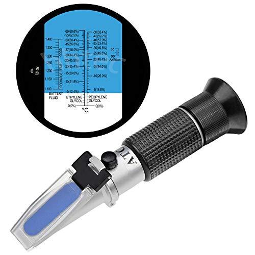 HHTEC Frostschutz Refraktometer Frostschutzmittel Akku Reinigungsflüssigkeit, Ethylenglykol: -60 °C-0 °C 0-66,6{af5dc03daab003b2c77067e8b3c5fccc96a3e89c8cdb955a48f50fe3f9084319}Vol, Propylenglykol: -50°C-0°C 0-62,4{af5dc03daab003b2c77067e8b3c5fccc96a3e89c8cdb955a48f50fe3f9084319}Vol, Batterieflüssigkeiten: 1.100-1.400sg