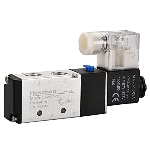 heschen eléctrico neumática válvula solenoide 4V210-08 220VAC 6.0VA PT1/4 5 way 2...