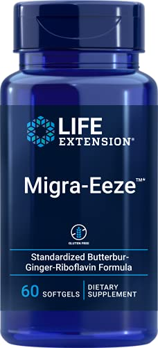 Life Extension Migra-Eeze — Standardized 150 mg High-Quality Butterbur Extract with Vitamin B2 (Riboflavin) & Ginger, Helps Ease Head Discomfort - Gluten-Free — 60 Softgels
