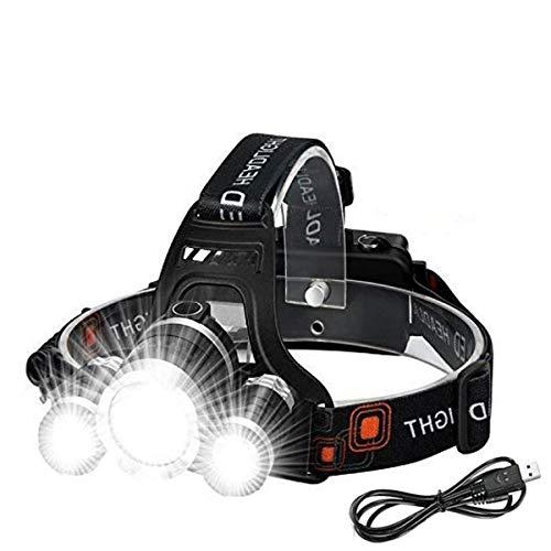 Stirnlampe LED - Victoper Kopflampe Wiederaufladbare Stirnlampe mit 3 Lichtern 4 Modi, 6000 Lumen, super helle LED Kopflampe, Freisprech-Taschenlampe für Laufen, Camping, Angeln, Radfahren, Wandern