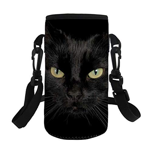 NDISTIN 3D Printing Cool Black Cat Fashion Boys Girls Teen Best Gift Water Bottle Sleeves Cover Bags for Bicycles Insulated Neoprene Durable Sports Travel with Adjustable Shoulder Strap