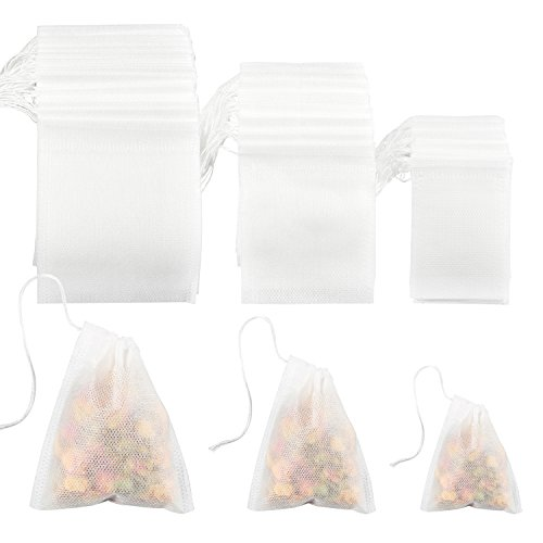 Coobey 300 Pieces Tea Filter Bags Disposable Drawstring Tea Filter Bags for Loose Leaf Tea or Flower Fruit Teas (White Color, Mixed Sizes)