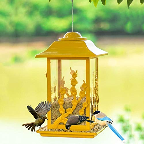 Nologo Gelb Metall Outdoor Bird Feeder Hibiscus Vogelfutter Feeder Villa, Schule, Scenic Area, Garten, Balkon Vogelbedarf Geschenk for Familie und Freunde BTZHY