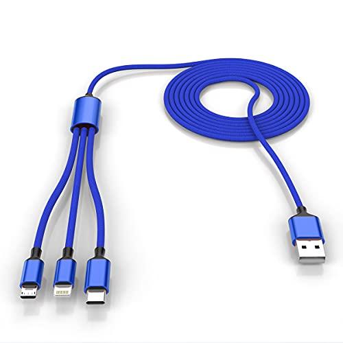 Multi 3 en 1 cable de carga USB largo para iPhone, cable de carga universal trenzado de nailon de 3m/10ft USB C/Micro USB/conector Lightning adaptador para Android/Apple/Samsung/Huawei/XiaoMi (azul)