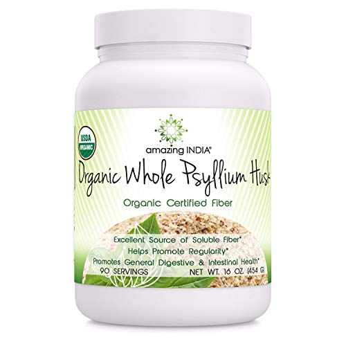 Amazing India USDA Certified Organic Whole Husk Psyllium - 16 Oz Powder (Non-GMO) - Excellent Source of Soluble Fiber - Helps Promote Regularity - Promotes General Digestive & Intestinal Health