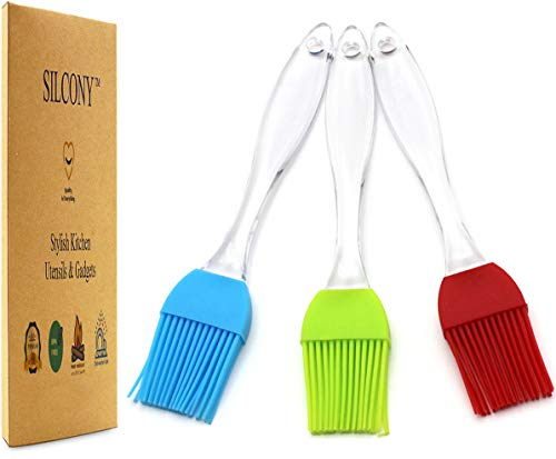 Silcony 3-Piece Set Pastry Basting Brush Heat Resistant Silicone Perfect for Baking, Glazing Marinating Meat - Oil, Sauce & Cream Spreader - Barbecue & Stylish Kitchen Utensils