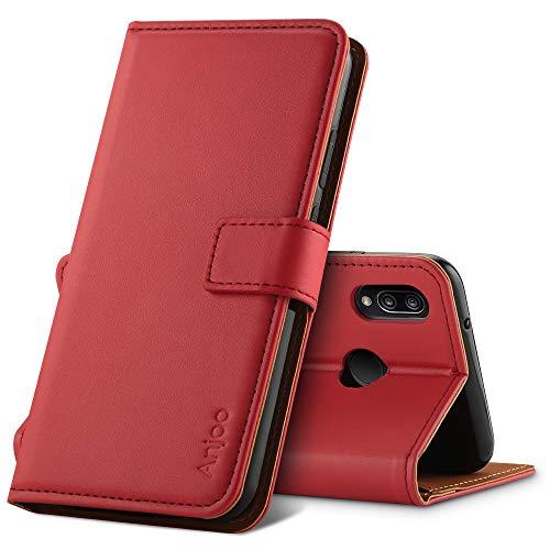 Anjoo Coque Compatible pour Huawei P20 Lite, Housse en Cuir avec Magnetique Premium Flip Case Portefeuille Etui Compatible pour Huawei P20 Lite, Rouge