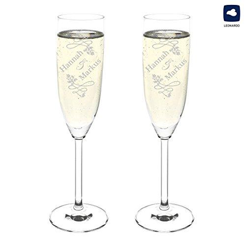 polar-effekt Leonardo 2 Sektgläser Personalisiert - Hochzeitsgläser Hochzeitsgeschenke für Brautpaare mit Gravur des Namens - Geschenkidee zur Hochzeit - Motiv Hochzeitsornament