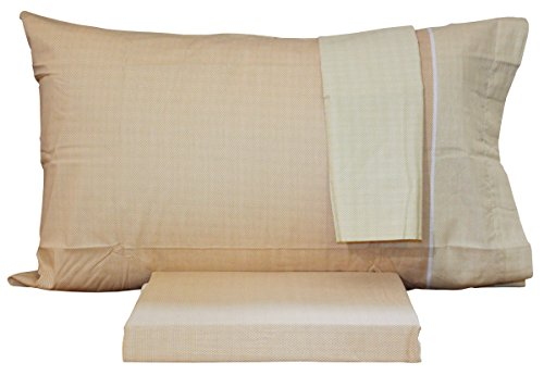 Bassetti Time - Juego de funda nórdica para cama individual de 1 plaza, doble funda de almohada 100 % algodón puro + 2 fundas de almohada (WEENY - BEIGE)