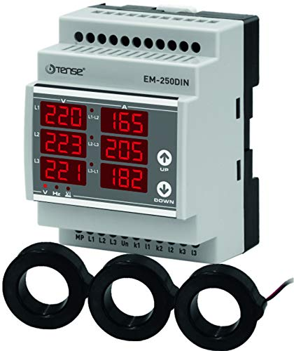 Tense EM-250DIN Einbaumessgerät Multimeter zur Messung von Strom (2A-250A), Spannung und Frequenz in 3-Phasigen Netzwerken - DIN-Schiene Hutschiene digital