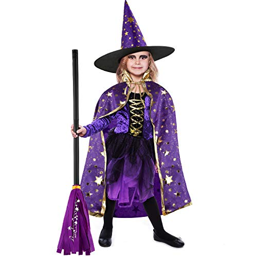 3 Piezas Disfraces de Halloween Capa Manto de Brujo con Escoba y Sombrero de Brujo para Accesorios de Disfraz de Fiesta Halloween (Púrpura)