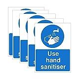 Valcatch 5pcs Warning Reminder Sticker Safety Sign,Please Use Hand Sanitizer Self-Adhesive Paper