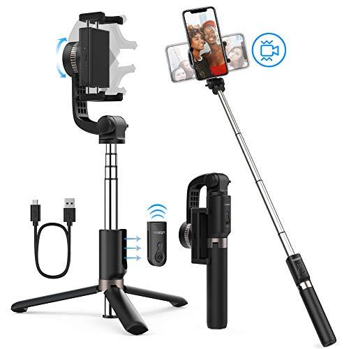 Yoozon Eje estabilizador trípode de teléfono, Palo Selfie antivibración, 360° Gimbal rotable stabilizer para iPhone/Samsung/Huawei/Xiaomi y más, portátil estabilizador para Video de Calidad, Selfie