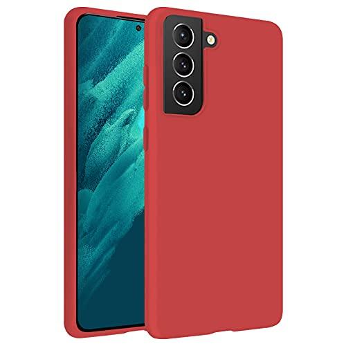 TBOC Custodia Gel TPU Rossa Compatibile con Samsung Galaxy S21 5G-Galaxy S21 [6.2 Pollici] Cover in Silicone Ultra Sottile e Flessibile per Cellulare [Non è Compatibile con Samsung Galaxy S21 Ultra]