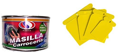PLAINSUR Masilla para CARROCERIA CON Fibra 500 Gr + Juego ESPATULA CARROCERO Plastico