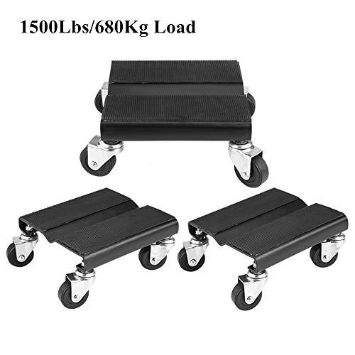 680Kg 3pcs Car Wheel Dollies Dolly Skate Car Van Positioning Trolley 1500Lbs
