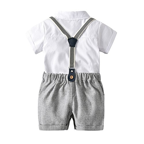 MRULIC Infant Baby Jungen Gentleman Strampler Hosenträger Strap Shorts Outfits Sets Sommer Kurzarm Shirt und Hose(A2-Weiß,85-90CM)