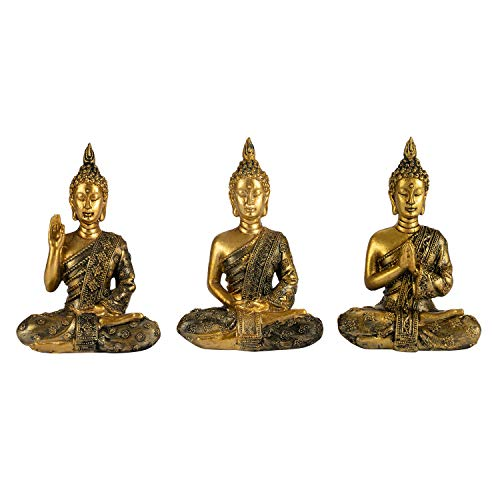 YINASI Sitting Buddha Statue, 3PCS Antique Handmade Resin Meditating Seated Buddha Blessing Statue Figurine Decoration for Tabletop Desk Living Room Bedroom Office Hotel