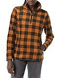 Amazon Essentials Quarter-Zip Polar Fleece-Outerwear-Jackets, Schwarz, Buffalokaros, L