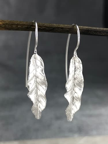 Silber Ohrringe Blatt Lang Hängend - 925 Sterling - Lange Blätter Ohrhänger Haken