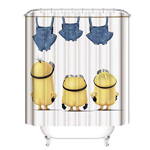 JANRON Minions Duschvorhang Anti-Schimmel Textil Waschbar Anti-Bakteriel Badvorhänge 3D Wasserdicht Duschvorhänge mit 12 Edelstahl Duschvorhangringe für Badezimmer - 150/180 / 200X200CM