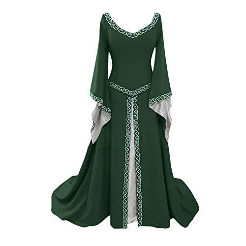Anney Damen Kleid Vintage Short Petal Sleeve Slash-Neck Mittelalterlichen Kleid Cosplay Kleid mit Trompetenärmel Mittelalter Party Kostüm Kleidung Partykleider (L, Grün 1)